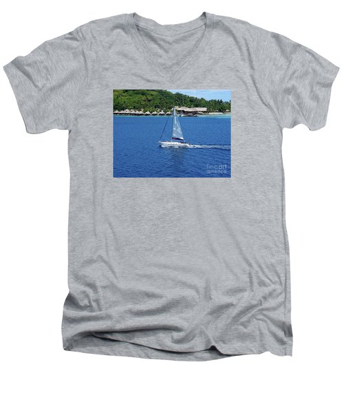 Men's V-Neck T-Shirt featuring the photograph South Sea Sail by Phyllis Kaltenbach
