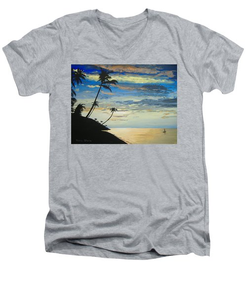 Men's V-Neck T-Shirt featuring the painting South Sea Sunset by Norm Starks