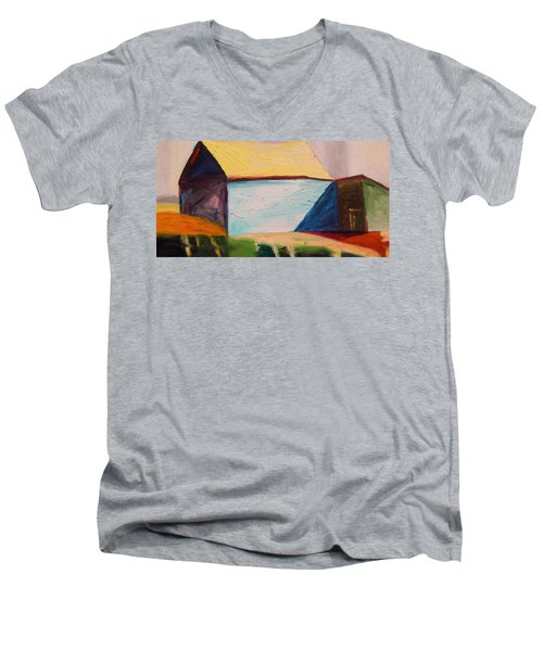 Men's V-Neck T-Shirt featuring the painting Southern Barn by John Williams