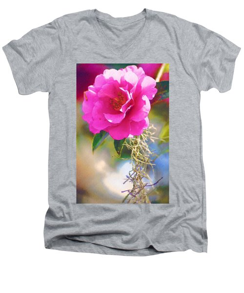 Men's V-Neck T-Shirt featuring the digital art Southern Rose by Donna Bentley