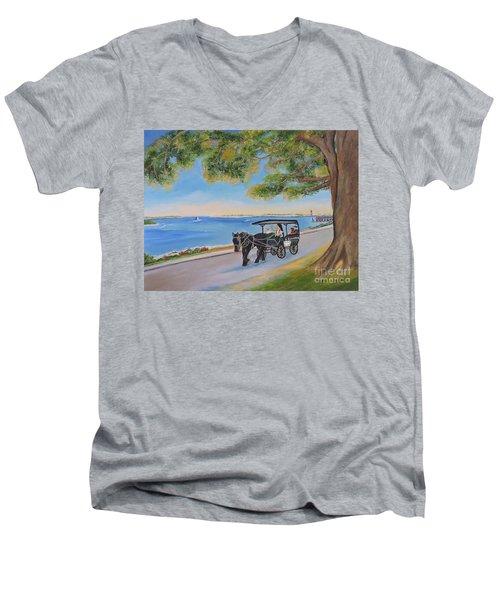Southport Stroll Men's V-Neck T-Shirt by Shelia Kempf