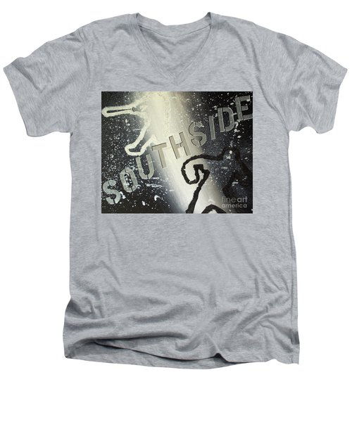 Men's V-Neck T-Shirt featuring the painting Southside Sox by Melissa Goodrich