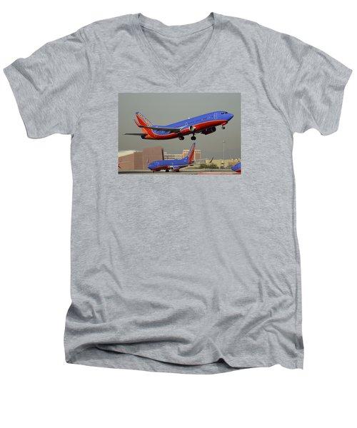 Southwest Boeing 737-3h4 N392sw Phoenix Sky Harbor December 2 2015 Men's V-Neck T-Shirt by Brian Lockett