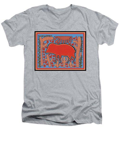 Men's V-Neck T-Shirt featuring the digital art Southwest Desert Wart Hog by Vagabond Folk Art - Virginia Vivier