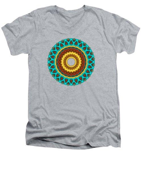 Southwestern Peacock Fractal Mandala Men's V-Neck T-Shirt