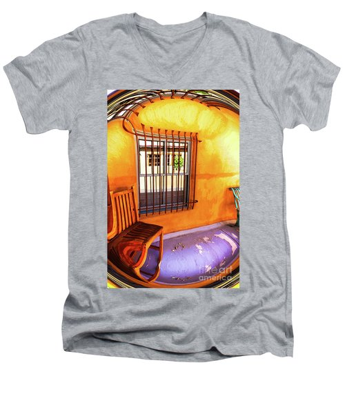 Southwestern Porch Distortion With Puple Floor Men's V-Neck T-Shirt