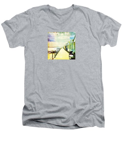 Men's V-Neck T-Shirt featuring the photograph Southwold Beach Huts by Anne Kotan