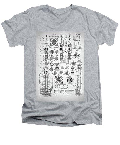 Men's V-Neck T-Shirt featuring the digital art Soviet Rocket Schematics by Taylan Apukovska
