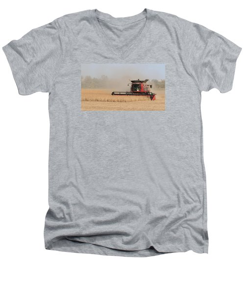 Soybean Harvest In Fremont County Iowa Men's V-Neck T-Shirt
