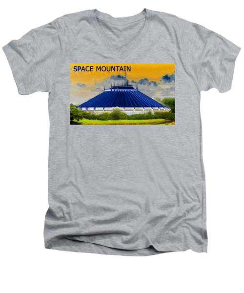 Space Mountain Men's V-Neck T-Shirt by David Lee Thompson