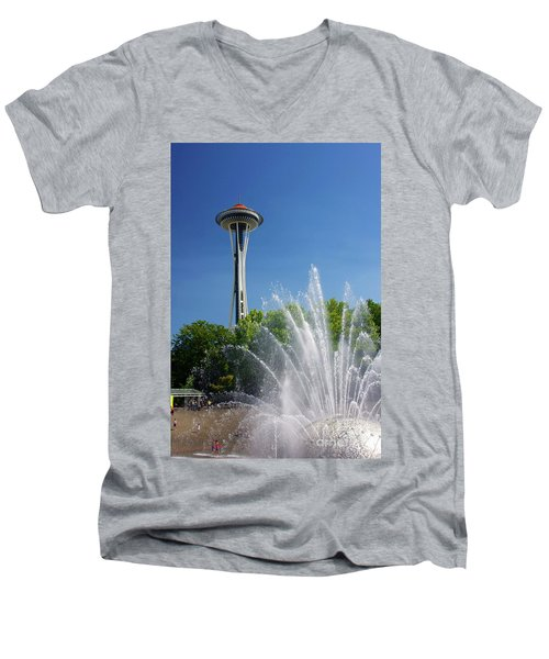 Space Needle In Seattle Men's V-Neck T-Shirt