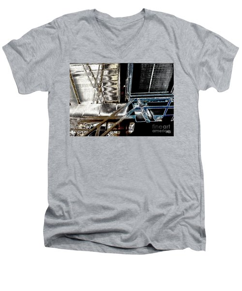 Men's V-Neck T-Shirt featuring the digital art Space Station by Marsha Heiken