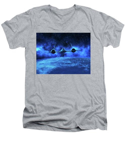 Spaceward Men's V-Neck T-Shirt by Dave Luebbert