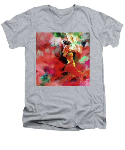Men's V-Neck T-Shirt featuring the painting Spanish Dance by Gull G