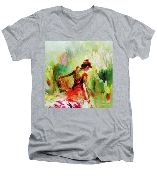 Men's V-Neck T-Shirt featuring the painting Spanish Female Art 56y by Gull G