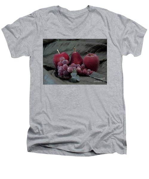 Men's V-Neck T-Shirt featuring the photograph Sparkeling Fruits by Sherry Hallemeier