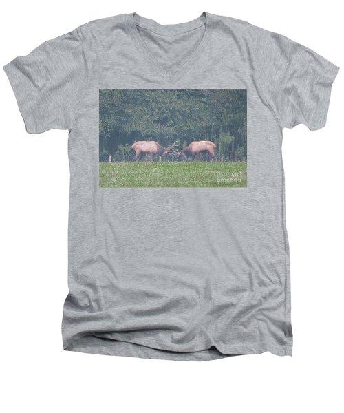 Sparking Elk On A Foggy Morning - 1957 Men's V-Neck T-Shirt