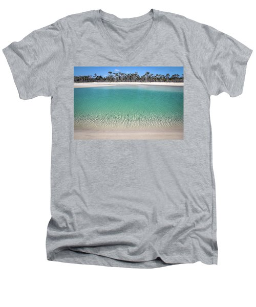 Sparkling Beach Lagoon On Deserted Beach Men's V-Neck T-Shirt
