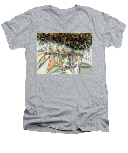Men's V-Neck T-Shirt featuring the digital art Sparks by Ron Bissett