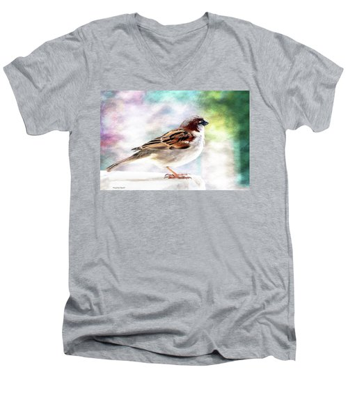 Sparrow Beauty 0004. Men's V-Neck T-Shirt by Kevin Chippindall