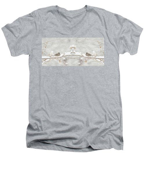 Men's V-Neck T-Shirt featuring the photograph Sparrow In The Cherry Tree by Lila Fisher-Wenzel