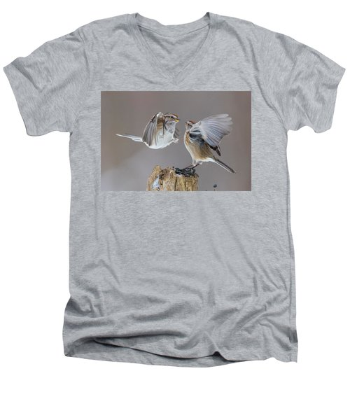 Men's V-Neck T-Shirt featuring the photograph Sparrows Fight by Mircea Costina Photography