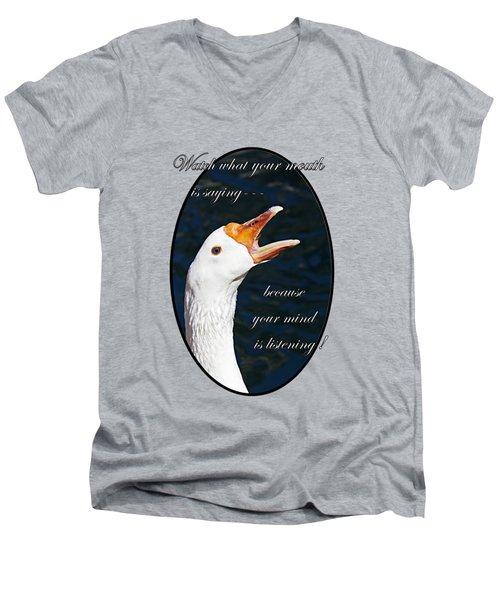 Speak Wisely Men's V-Neck T-Shirt by Phyllis Denton