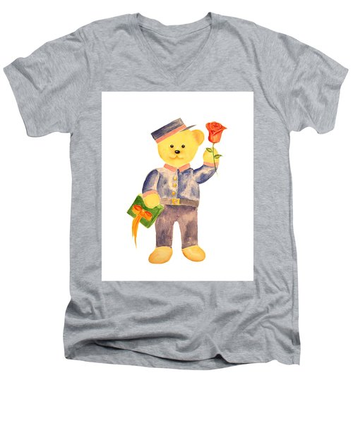 Men's V-Neck T-Shirt featuring the painting Special Delivery by Elizabeth Lock
