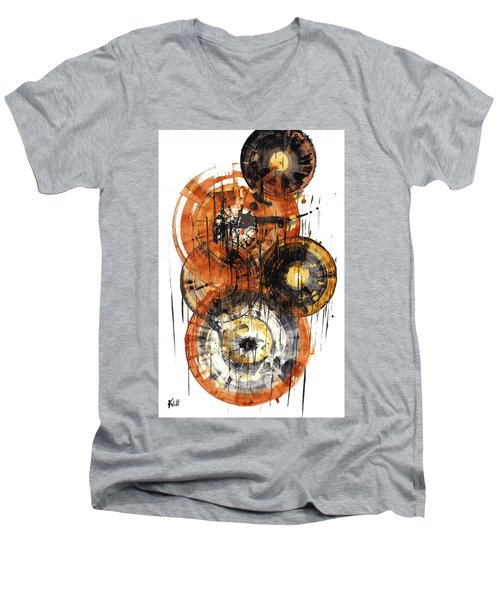 Men's V-Neck T-Shirt featuring the painting Sphere Series 1028.050412 by Kris Haas