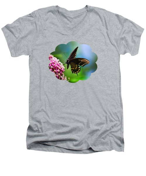 Spicebush Swallowtail Butterfly On Pink Flower Men's V-Neck T-Shirt by Christina Rollo