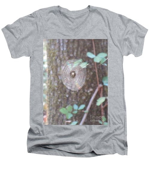 Men's V-Neck T-Shirt featuring the photograph Spider In The Round by Marie Neder