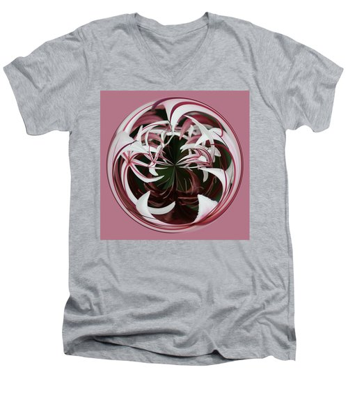 Men's V-Neck T-Shirt featuring the photograph Spider Lily Orb by Bill Barber