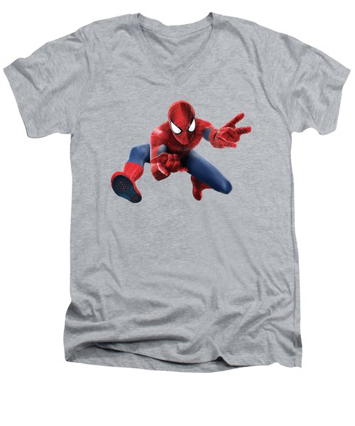 Spider Man Splash Super Hero Series Men's V-Neck T-Shirt by Movie Poster Prints
