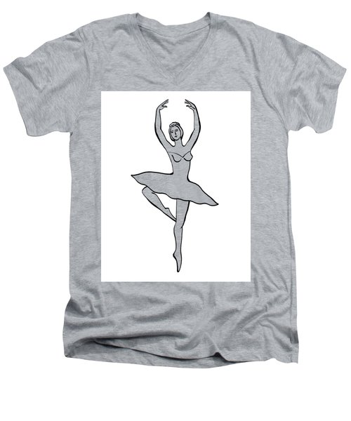 Spinning Ballerina Silhouette Men's V-Neck T-Shirt