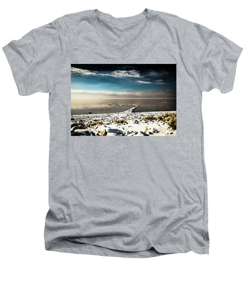 Spiral Jetty In Winter Men's V-Neck T-Shirt
