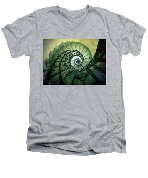 Men's V-Neck T-Shirt featuring the photograph Spiral Stairs In Green Tones by Jaroslaw Blaminsky