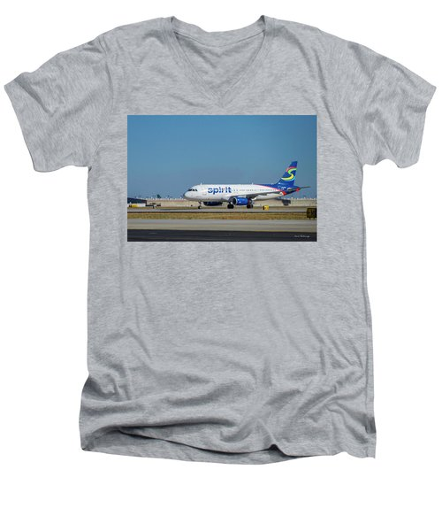 Men's V-Neck T-Shirt featuring the photograph Spirit Airlines Airbus A320 N608nk Airplane Art by Reid Callaway