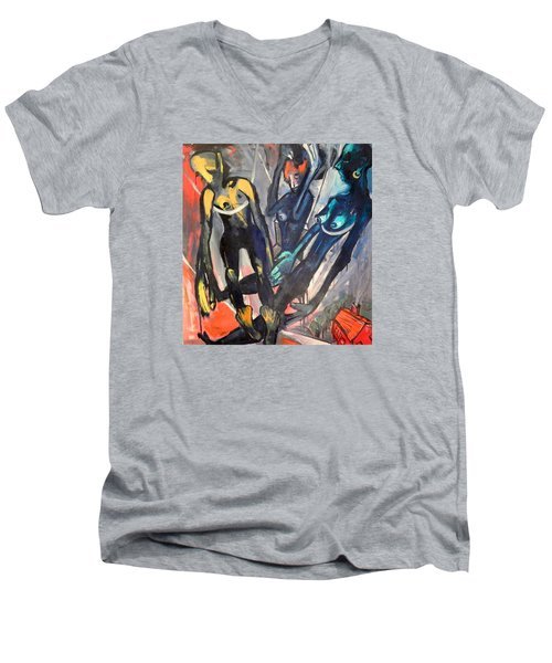Men's V-Neck T-Shirt featuring the painting Spiritual Free-ride    Less Life's Loss by Kenneth Agnello