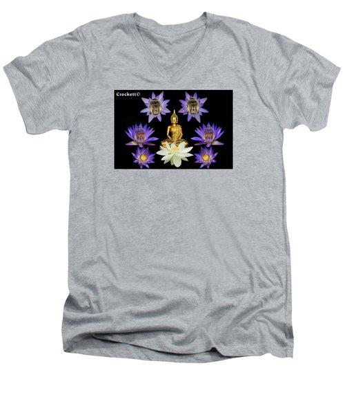Spiritual Water Lilly Men's V-Neck T-Shirt by Gary Crockett
