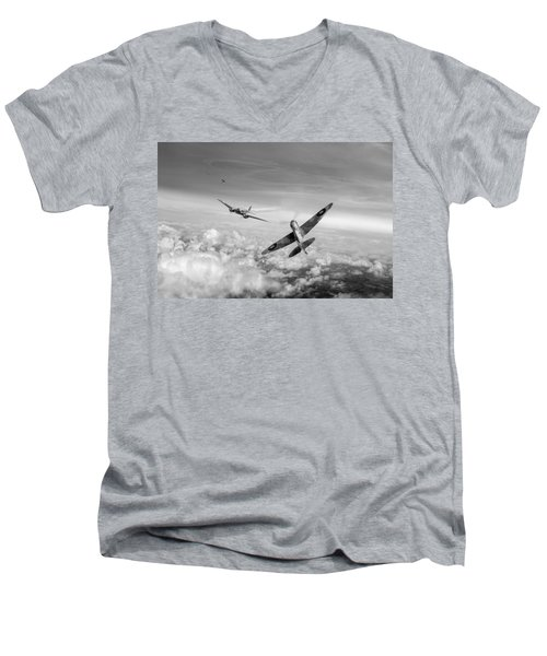 Spitfire Attacking Heinkel Bomber Black And White Version Men's V-Neck T-Shirt by Gary Eason