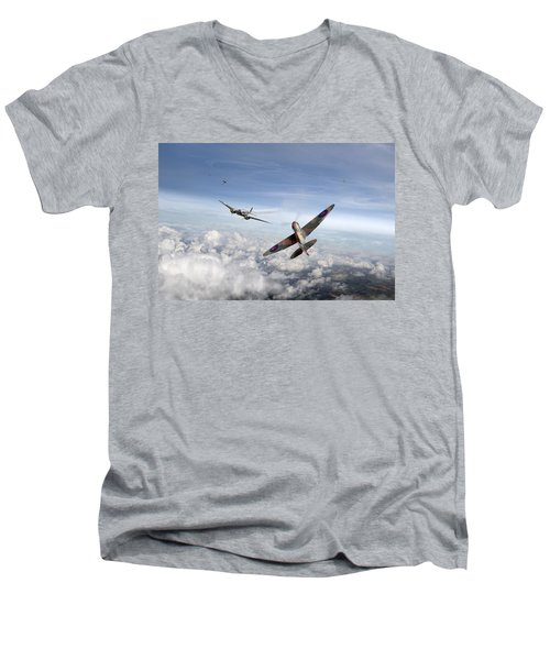 Spitfire Attacking Heinkel Bomber Men's V-Neck T-Shirt by Gary Eason