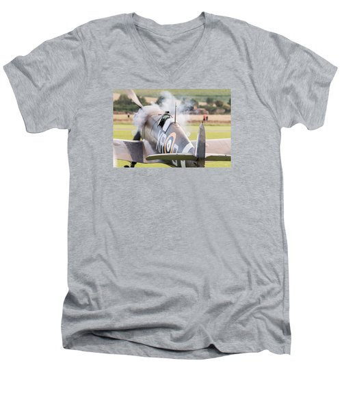 Spitfire Engine Start Smoke Rings Men's V-Neck T-Shirt