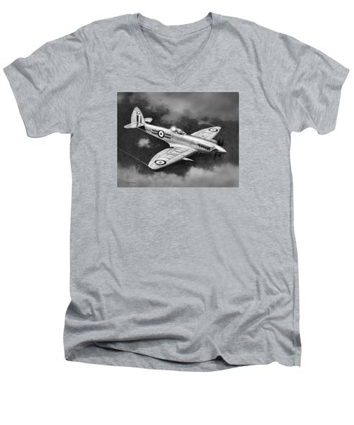 Spitfire Mark 22 Men's V-Neck T-Shirt by Douglas Castleman