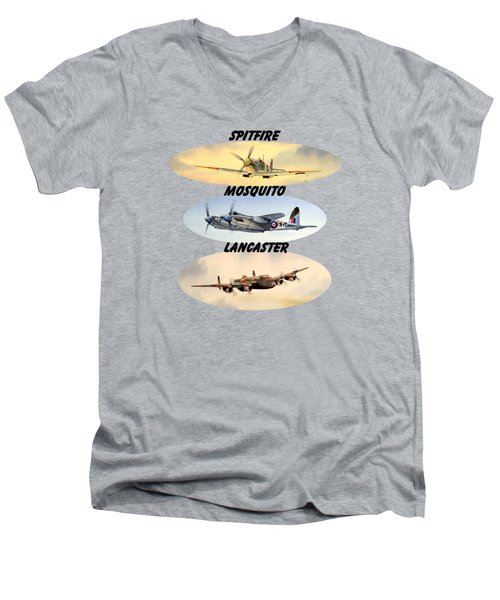 Men's V-Neck T-Shirt featuring the painting Spitfire Mosquito Lancaster Aircraft With Name Banners by Bill Holkham
