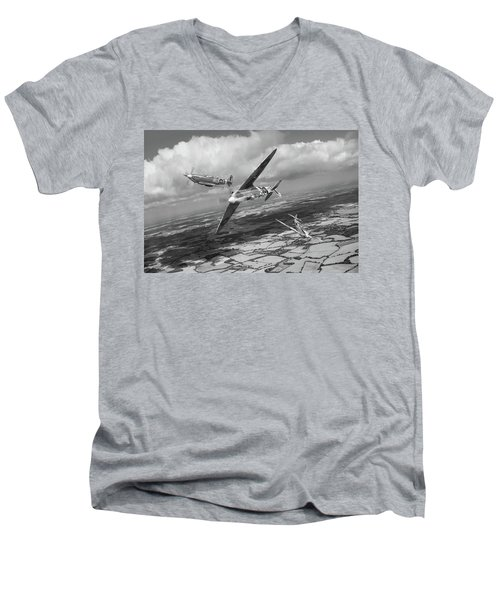 Men's V-Neck T-Shirt featuring the photograph Spitfire Tr 9 Fighter Affiliation Bw Version by Gary Eason