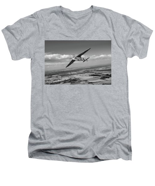 Men's V-Neck T-Shirt featuring the photograph Spitfire Tr 9 On A Roll Bw Version by Gary Eason