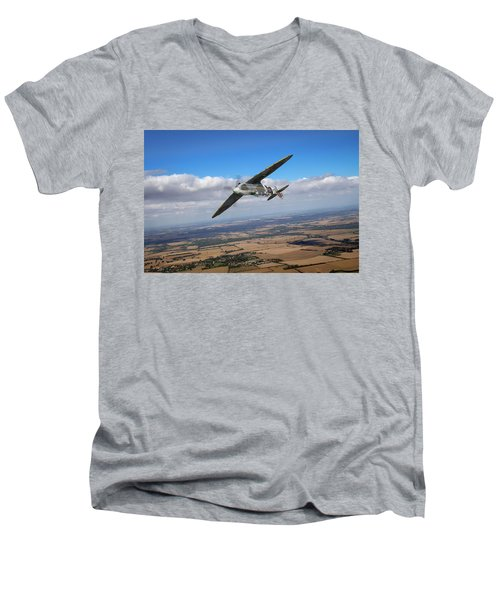 Men's V-Neck T-Shirt featuring the photograph Spitfire Tr 9 On A Roll by Gary Eason