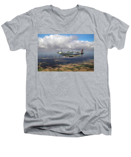 Men's V-Neck T-Shirt featuring the photograph Spitfire Tr 9 Sm520 by Gary Eason