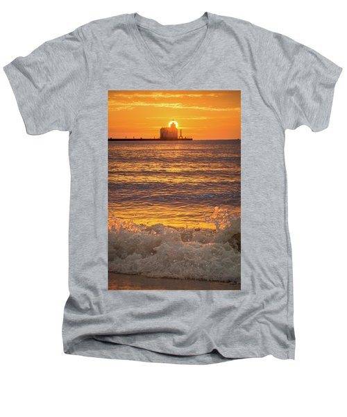 Men's V-Neck T-Shirt featuring the photograph Splash Of Light by Bill Pevlor