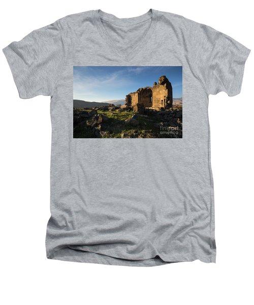 Splendid Ruins Of St. Grigor Church In Karashamb, Armenia Men's V-Neck T-Shirt by Gurgen Bakhshetsyan